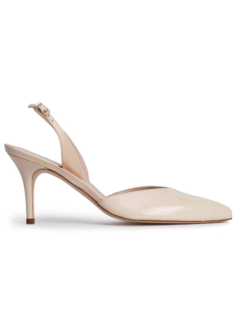 Stuart Weitzman Woman Patent-leather Slingback Pumps Neutral