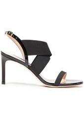 Stuart Weitzman Woman Alana 75 Patent-leather And Stretch-knit Slingback Sandals Black