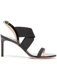 Stuart Weitzman Woman Patent Leather-trimmed Stretch-knit Slingback Sandals Black
