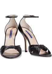 Stuart Weitzman Woman Paulette Metallic Textured-leather Sandals Black