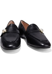Stuart Weitzman Woman Payson Faux Pearl-embellished Leather Loafers Black