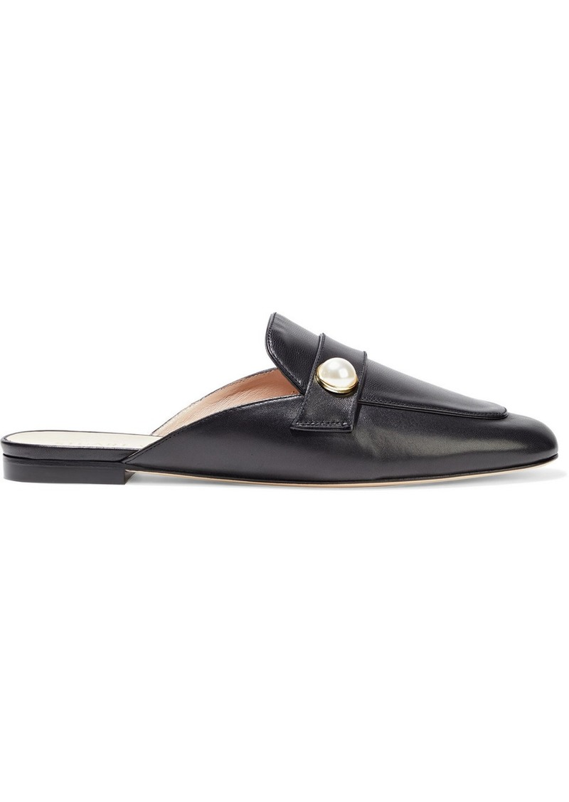 Stuart Weitzman Woman Payson Faux Pearl-embellished Leather Slippers Black