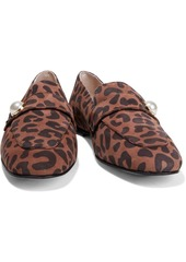 Stuart Weitzman Woman Payson Faux Pearl-embellished Leopard-print Suede Loafers Animal Print