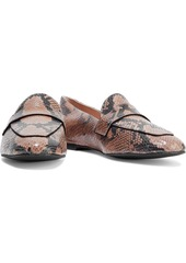 Stuart Weitzman Woman Payson Snake-effect Leather Loafers Camel