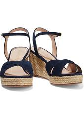 Stuart Weitzman Woman Rosemarie Suede Espadrille Wedge Sandals Navy