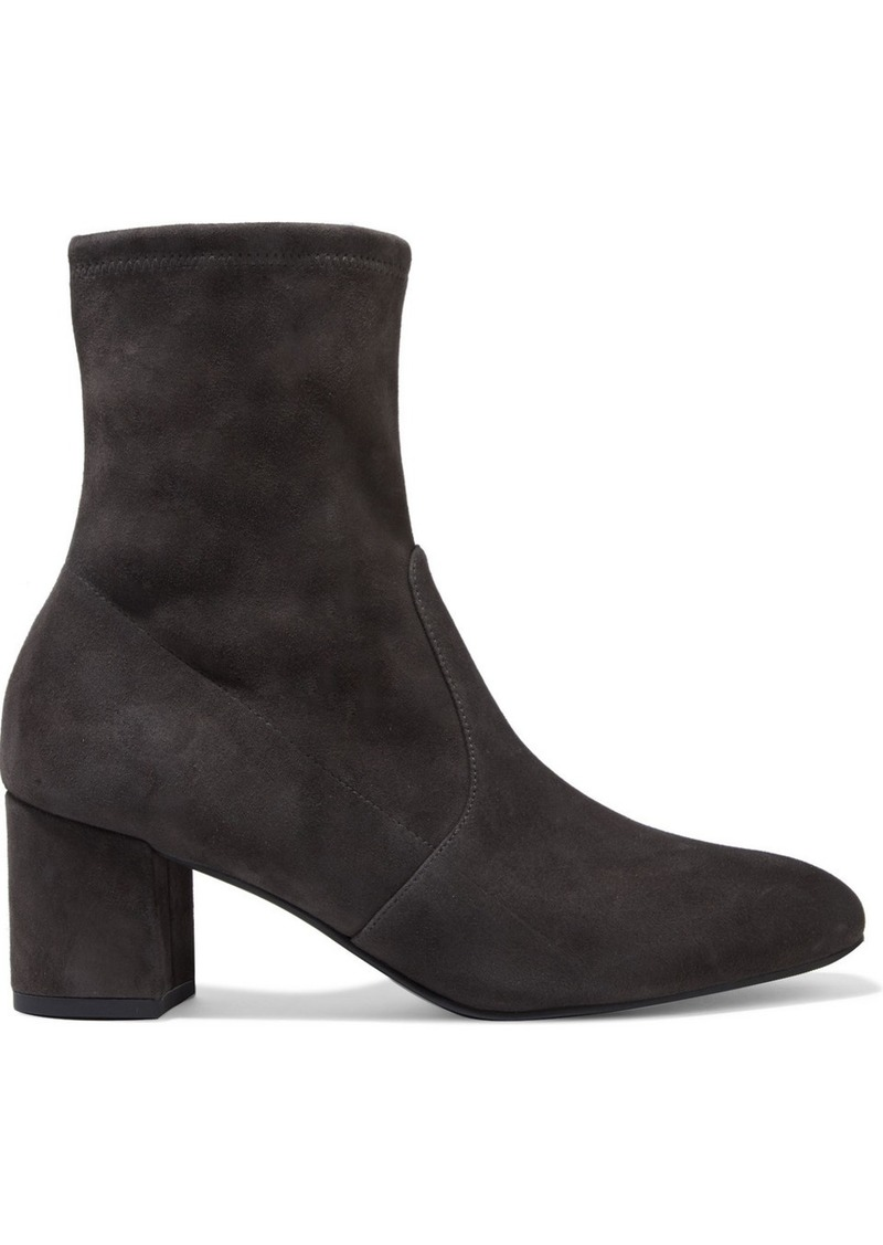 Stuart Weitzman Woman Siggy 60 Stretch-suede Ankle Boots Charcoal