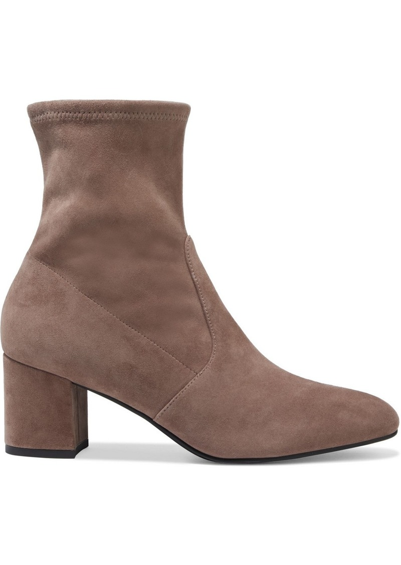 Stuart Weitzman Woman Siggy 60 Stretch-suede Ankle Boots Taupe