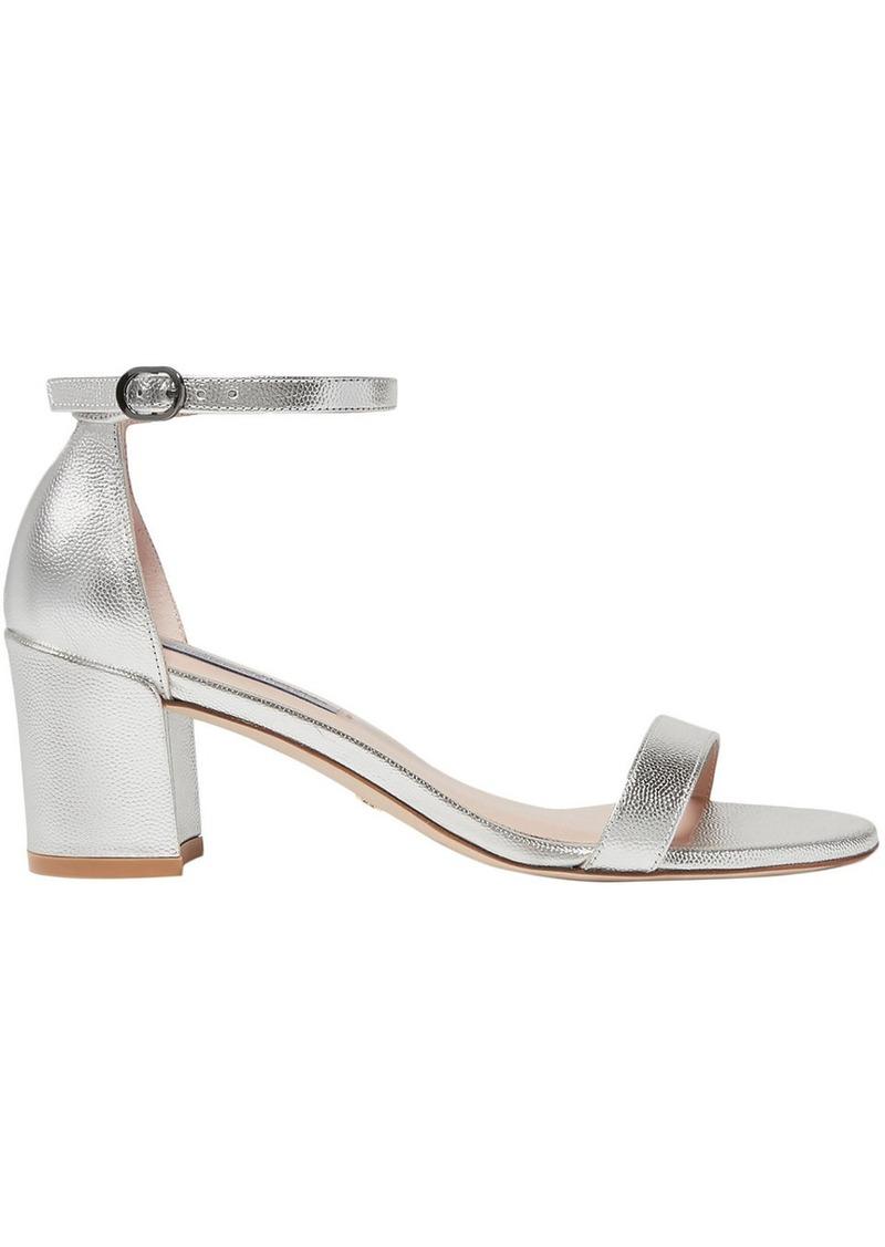 Stuart Weitzman Woman Simple Metallic Textured-leather Sandals Silver