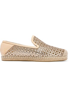 Stuart Weitzman Woman Smooth And Laser-cut Glittered Leather Espadrilles Beige