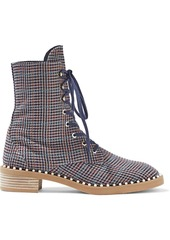 Stuart Weitzman Woman Sondra Faux Pearl-embellished Houndstooth Woven Ankle Boots Navy