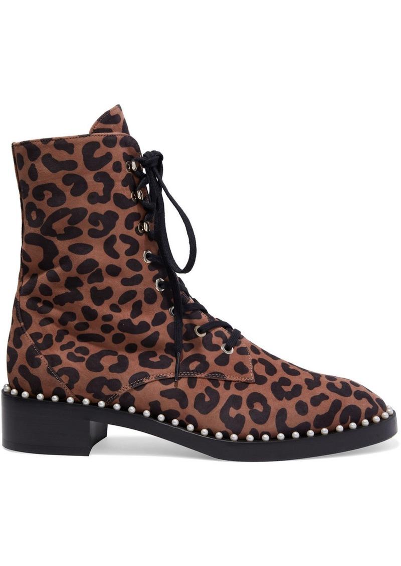 Stuart Weitzman Woman Sondra Faux Pearl-embellished Leopard-print Suede Ankle Boots Animal Print