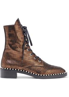 Stuart Weitzman Woman Sondra Faux Pearl-embellished Metallic Leather Combat Boots Bronze