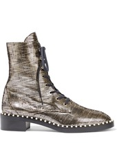 Stuart Weitzman Woman Sondra Faux Pearl-embellished Metallic Leather Combat Boots Platinum