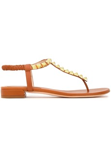 Stuart Weitzman Woman Studded Suede Sandals Tan