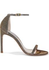 Stuart Weitzman Woman Textured-lamé Sandals Gold