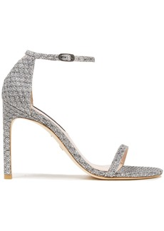 Stuart Weitzman Woman Textured-lamé Sandals Silver