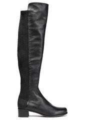Stuart Weitzman Woman Woven And Smooth Leather Knee Boots Black