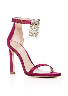 Stuart Weitzman Women's 100Fringesquarenudist Satin Embellished High Heel Ankle Strap Sandals