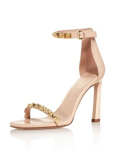 Stuart Weitzman Women's 100Rosist Studded Leather Ankle Strap Sandals