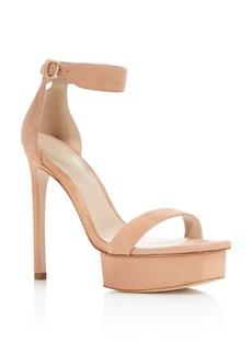 Stuart Weitzman Women's Backupplat Suede Platform High Heel Sandals