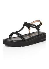 Stuart Weitzman Women's Calypso Square Toe Twist Strap Leather Lift Sandals