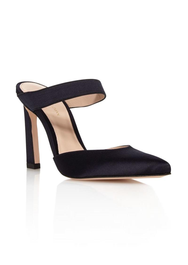 Stuart Weitzman Women's Eventually Satin Pointed Toe High-Heel Mules