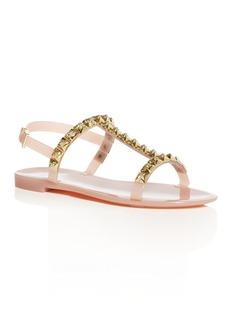 Stuart Weitzman Women's Jelrose Studded T-Strap Jelly Sandals
