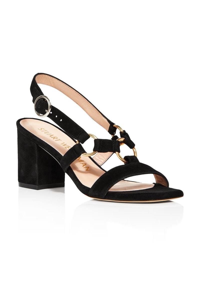 Stuart Weitzman Women's Lalita Square Toe Suede Slingback Sandals