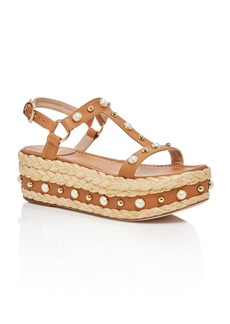 Stuart Weitzman Women's Leather Embellished Platform Sandals