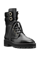 Stuart Weitzman Women's Lexy Round Toe Leather Lace Up Boots
