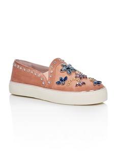 Stuart Weitzman Women's Suede Embellished Slip-On Sneakers
