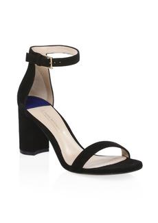 Stuart Weitzman 75LessNudist Suede Ankle-Strap Sandals