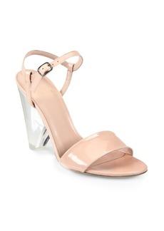 Stuart Weitzman Theone Patent Leather Lucite Heel Sandals