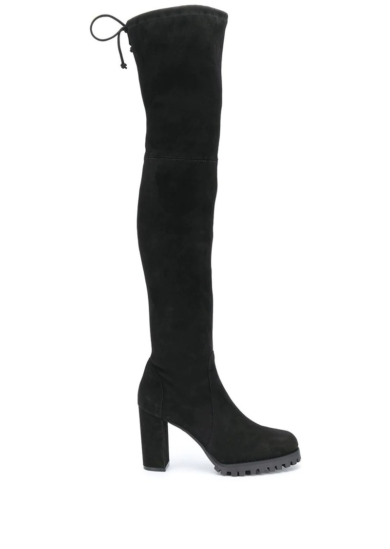 Stuart Weitzman thigh high chunky heel boots