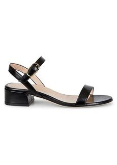 Stuart Weitzman Tibby Leather Block-Heel Sandals