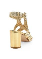 Stuart Weitzman Vicky Woven Metallic Leather Sandals