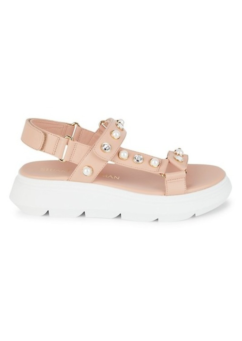 Stuart Weitzman Zoelie Embellished Leather Flatform Sandals