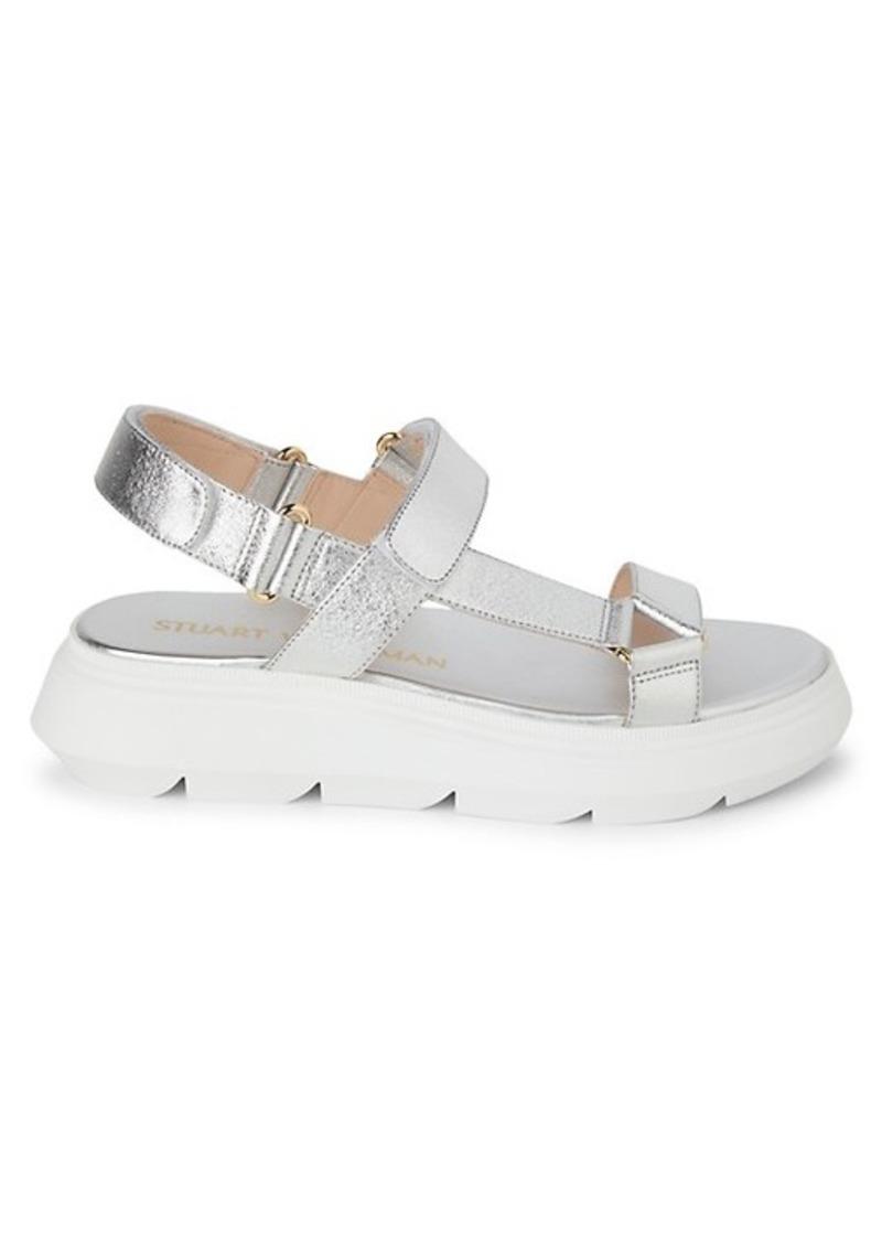 Stuart Weitzman Zoelie Metallic Leather Platform Sandals