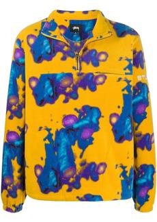 Stussy abstract print fleece henley sweatshirt