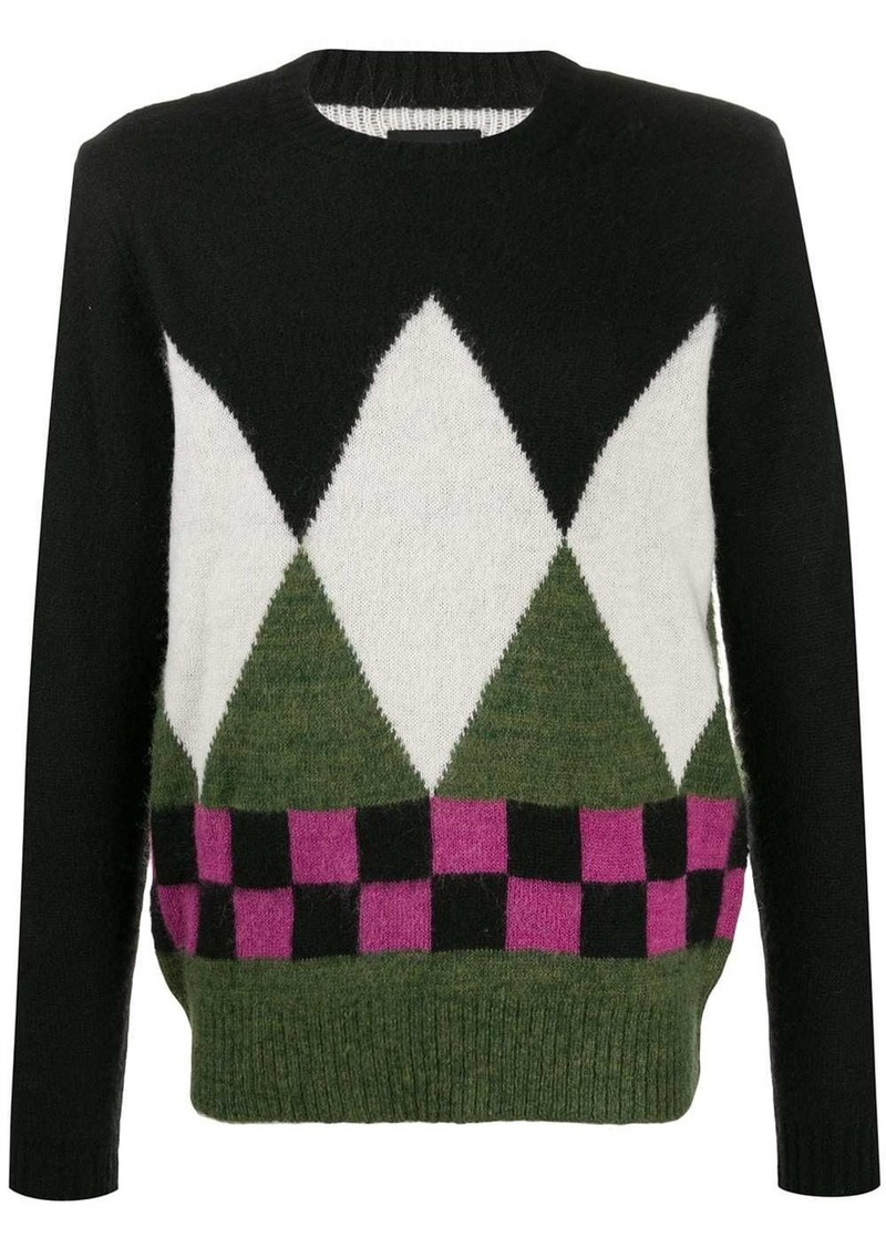 Stussy mixed-pattern relaxed-fit jumper