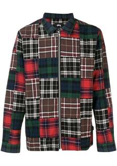 Stussy patchwork plaid zipped shirt
