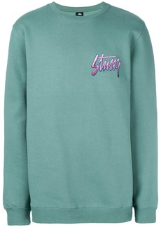 Stussy logo long-sleeve sweatshirt - Green