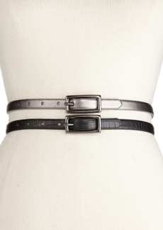 Inc International Concepts 2-for-1 Croc and Pewter Skinny Belts, Created for Macy's