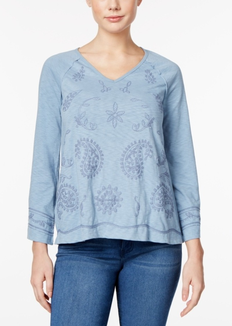 Style&co. Style & Co. Bell-Sleeve Embroidered Top, Only at Macy's