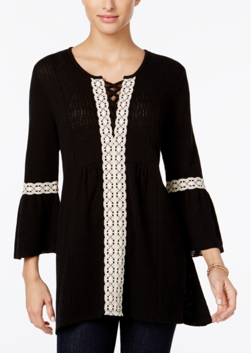 Style&co. Style & Co. Lace-Trim Lantern-Sleeve Tunic, Only at Macy's