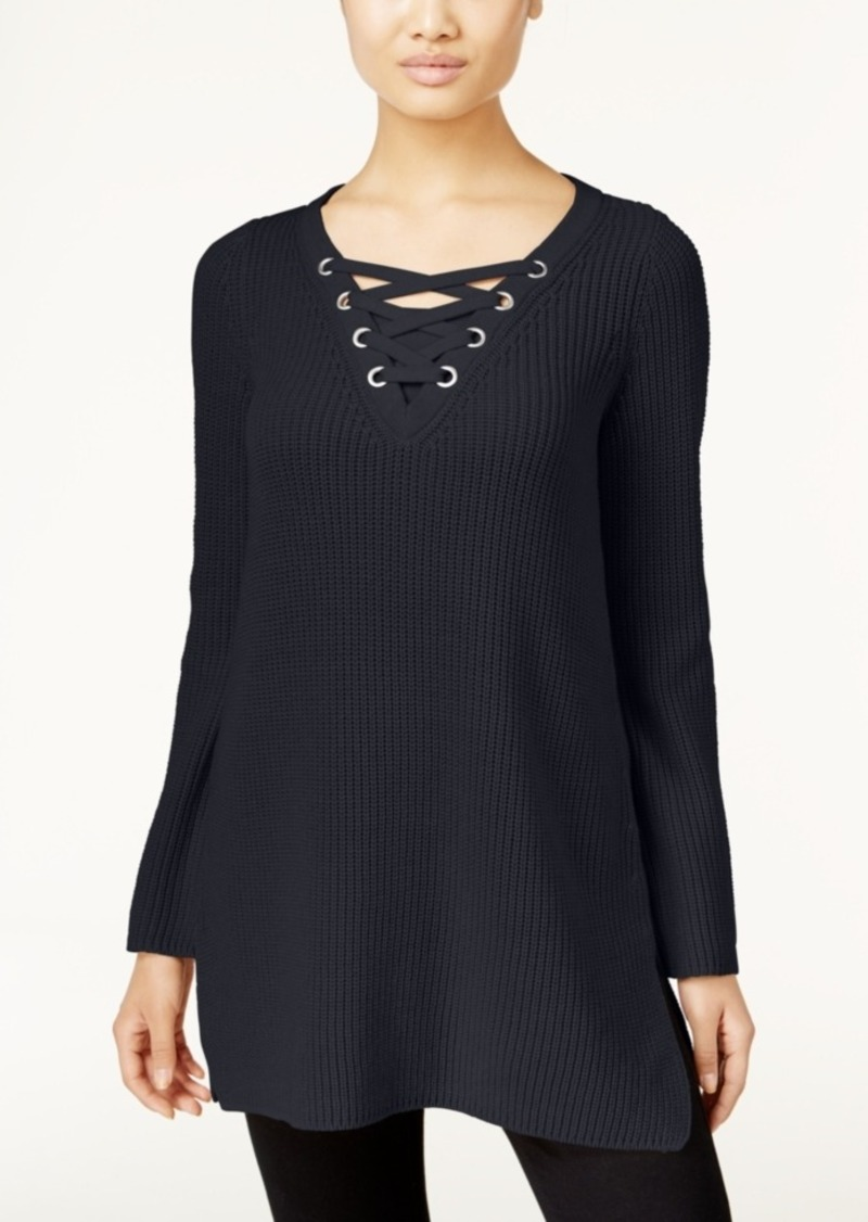 Style&co. Style & Co. Lace-Up Tunic Sweater, Only at Macy's ...