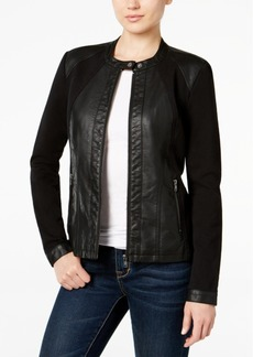 Style&co. Style & Co. Mixed-Media Faux-Leather Jacket, Only at Macy's
