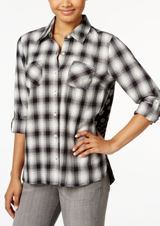 Style&co. Style & Co. Petite Paisley-Back Plaid Shirt, Only at Macy's