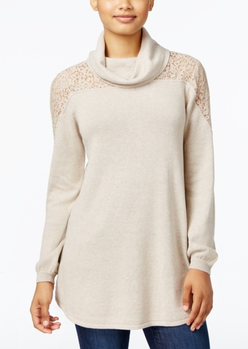 Style&co. Style & Co. Petite Cowl-Neck Lace Sweater, Only at ...