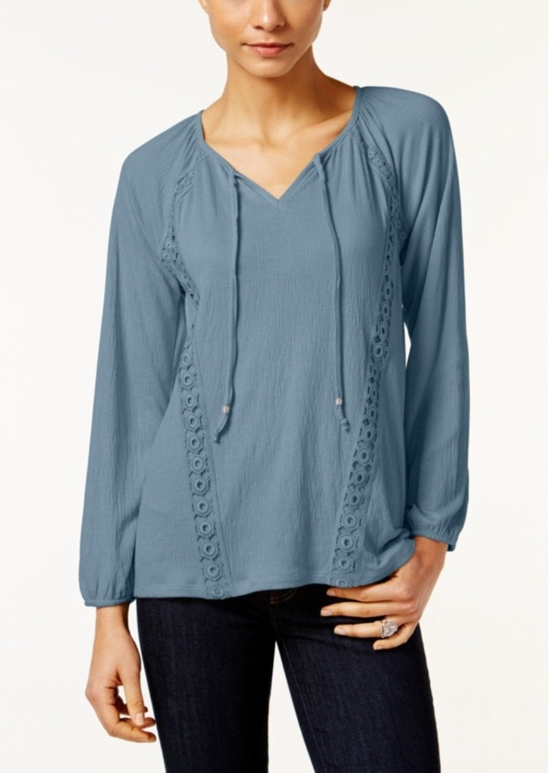 Style&co. Style & Co. Petite Crochet-Trim Peasant Top, Only at Macy's